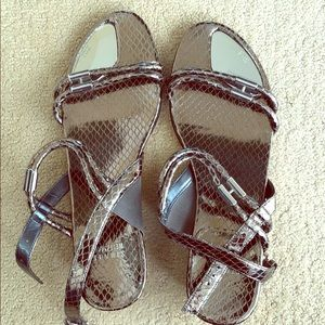 Stuart Weitzman silver sandals